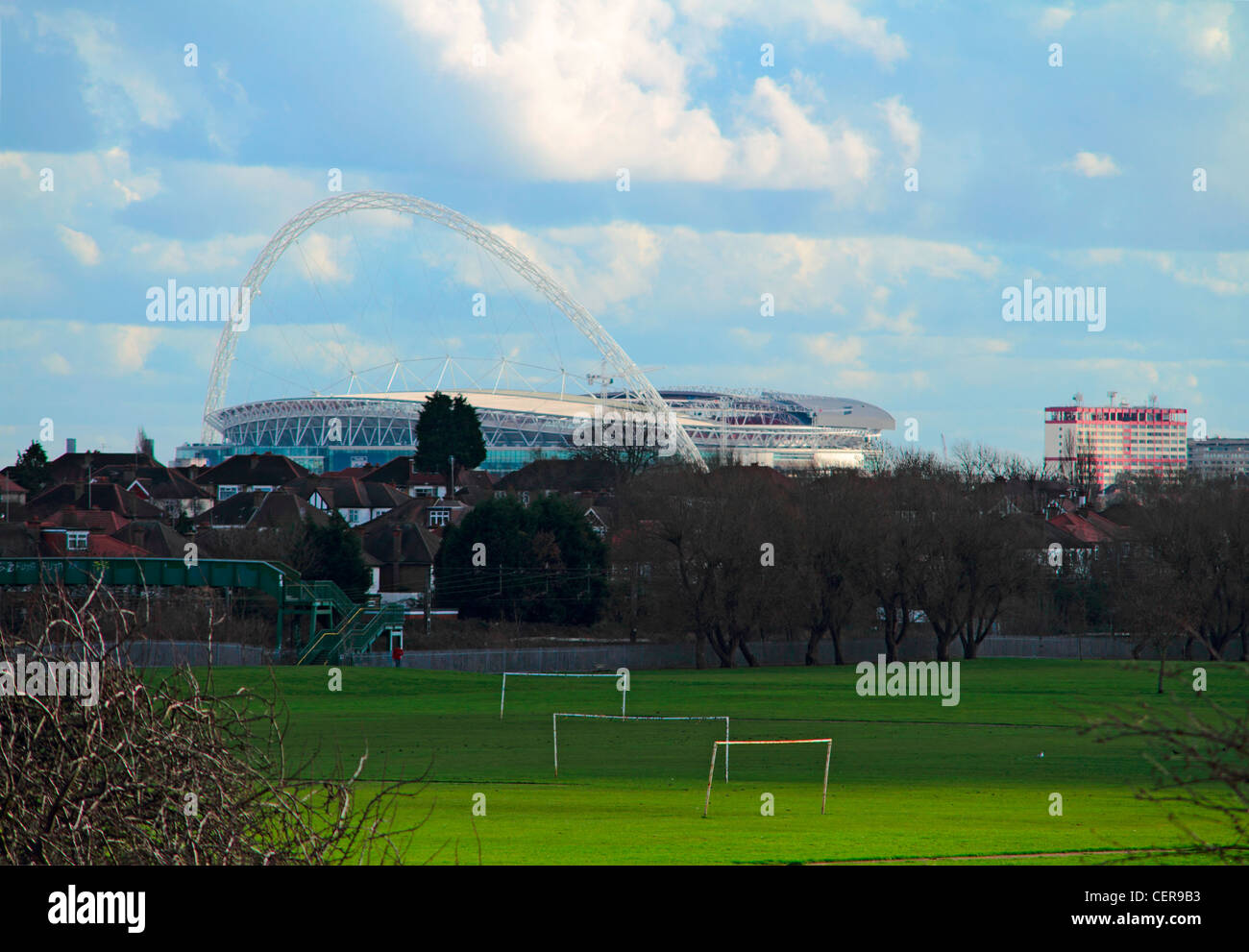 Wembley stadium dominating the skyline of north west London seen from Northwick Park. - Stock Image