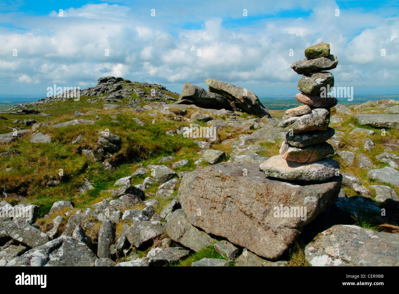 A pile of stones at the summit of Rough Tor on Bodmin Moor which along with Brown Willy are the two highest points - Stock Image