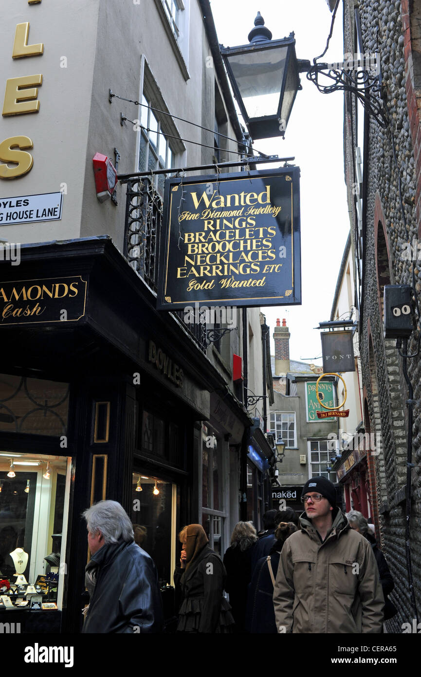 Antique Jewellers shops in The Lanes Brighton UK Stock Photo
