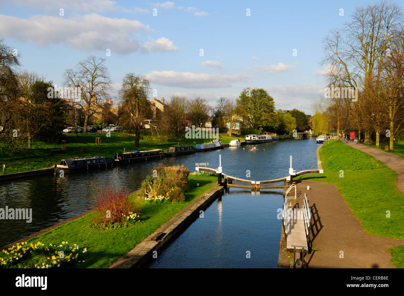 Jesus Lock on the River Cam, the only lock on the river in Cambridge. - Stock Image