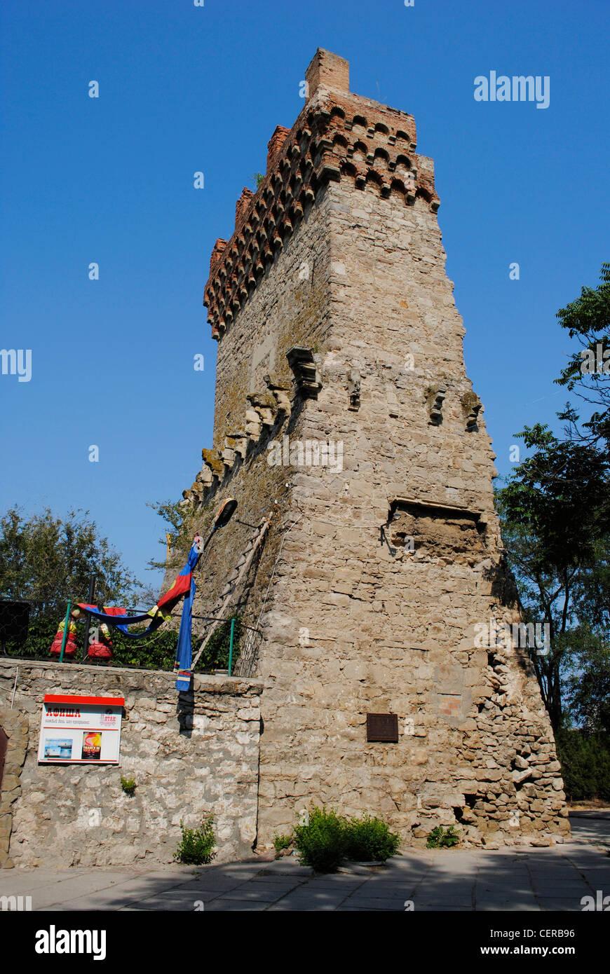 Ukraine. Autonomous Republic of Crimea. Feodosiya. Genoese Fortress. Saint Konstantin Tower. 14th century. Restored - Stock Image