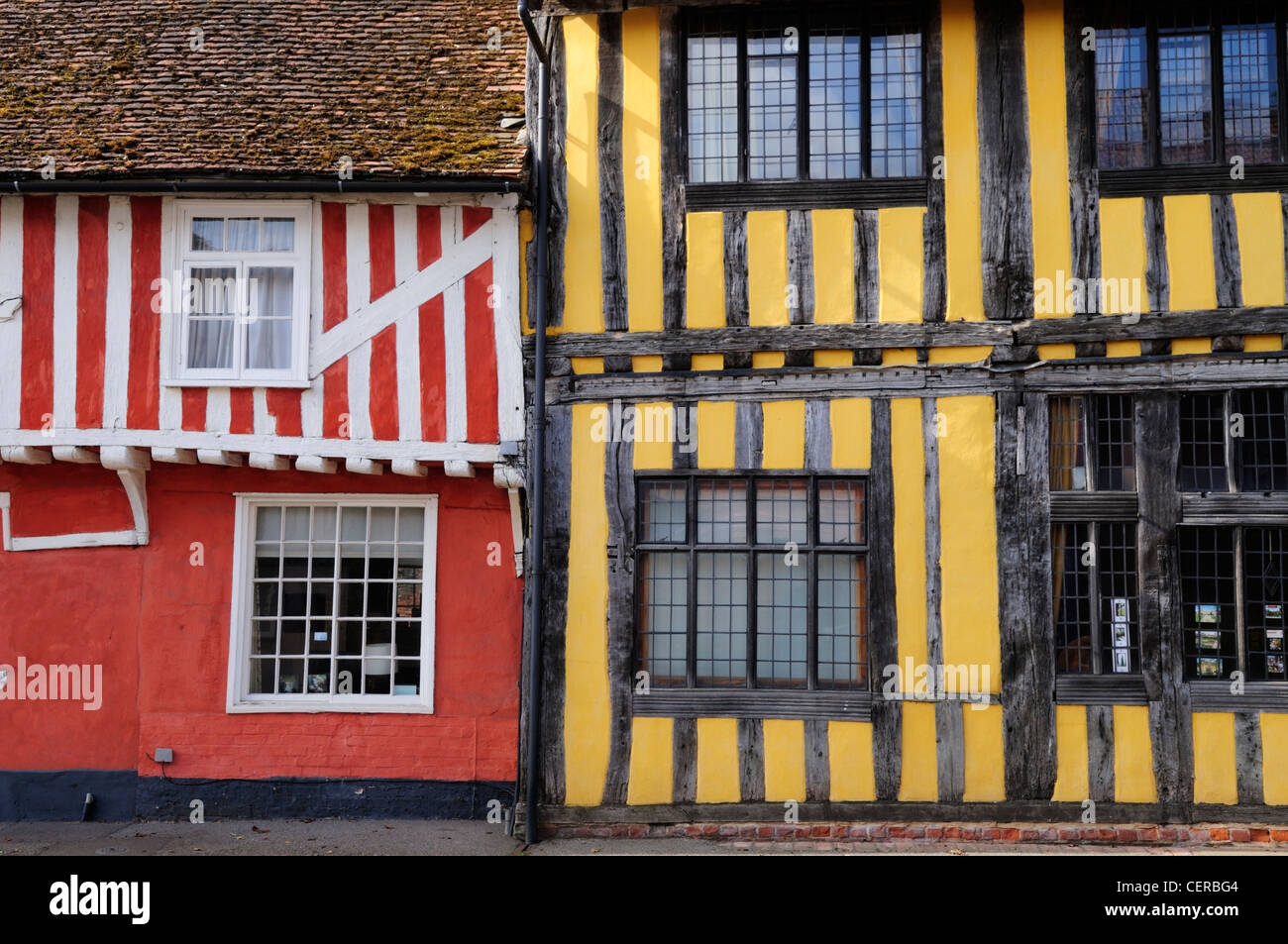Half-timbered medieval buildings in the historic village of Lavenham. - Stock Image