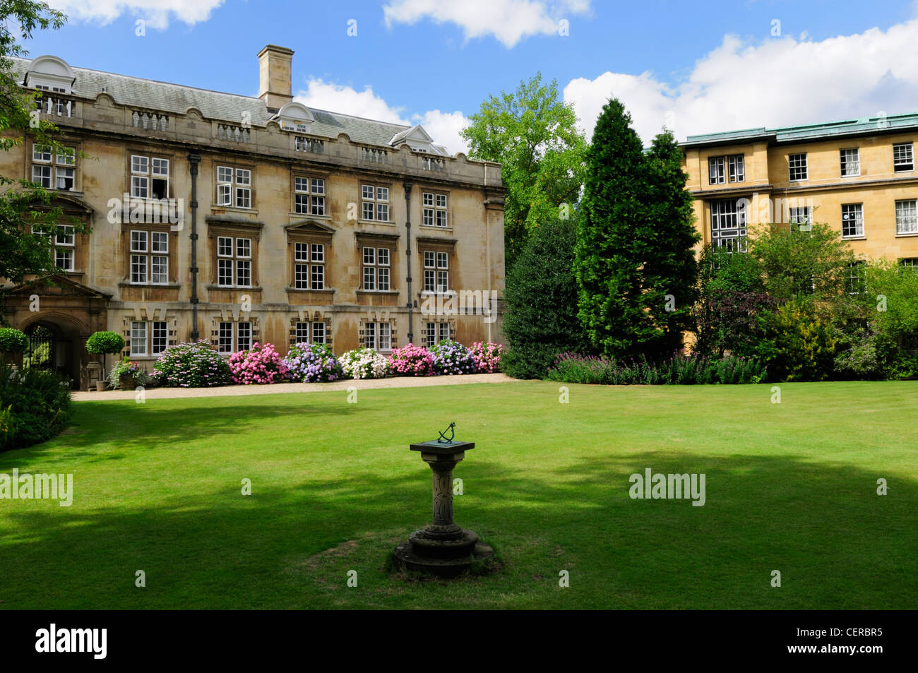 The Fellows Garden at Christ's College, a constituent college of the University of Cambridge. - Stock Image