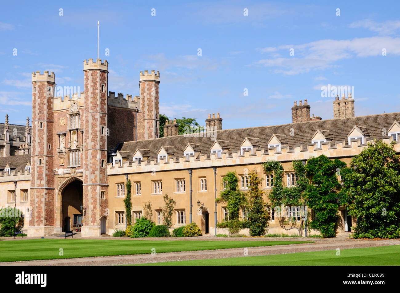 The Great Gate and Court of Trinity College, a constituent college of the University of Cambridge. Stock Photo