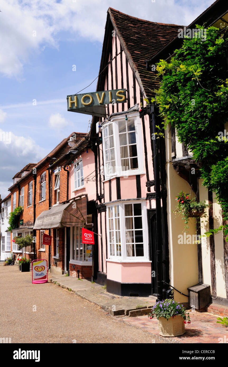 Hovis sign on a half-timbered shop on the Market Square in the historic town of Lavenham. - Stock Image