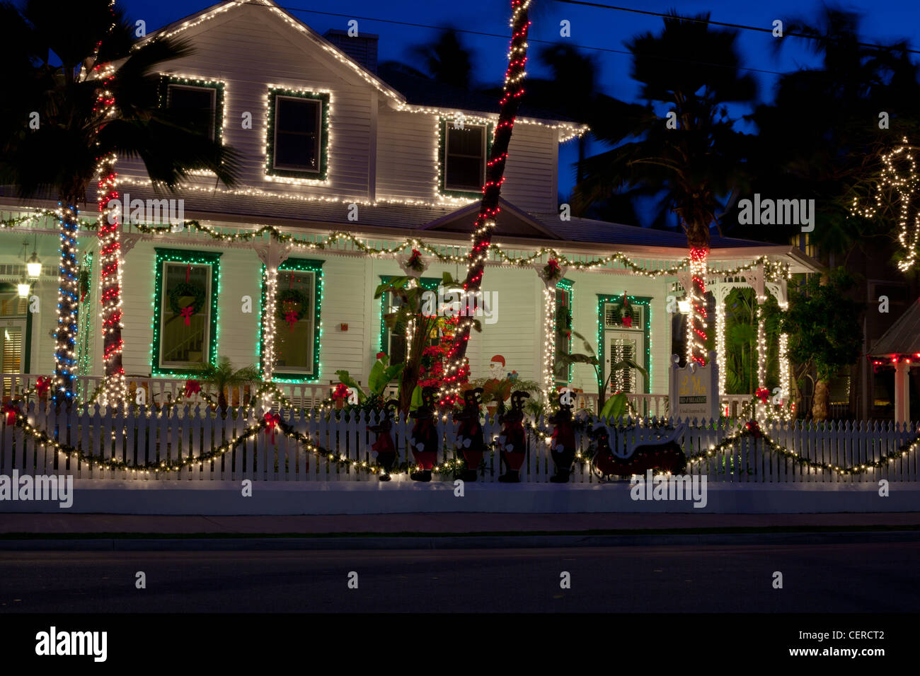 Key West House All Done Up With Christmas Lights Stock Photos & Key ...