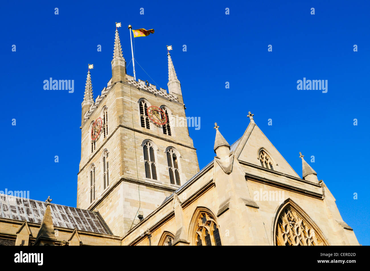 Southwark Cathedral or The Cathedral and Collegiate Church of St Saviour and St Mary Overie. It was designated a - Stock Image