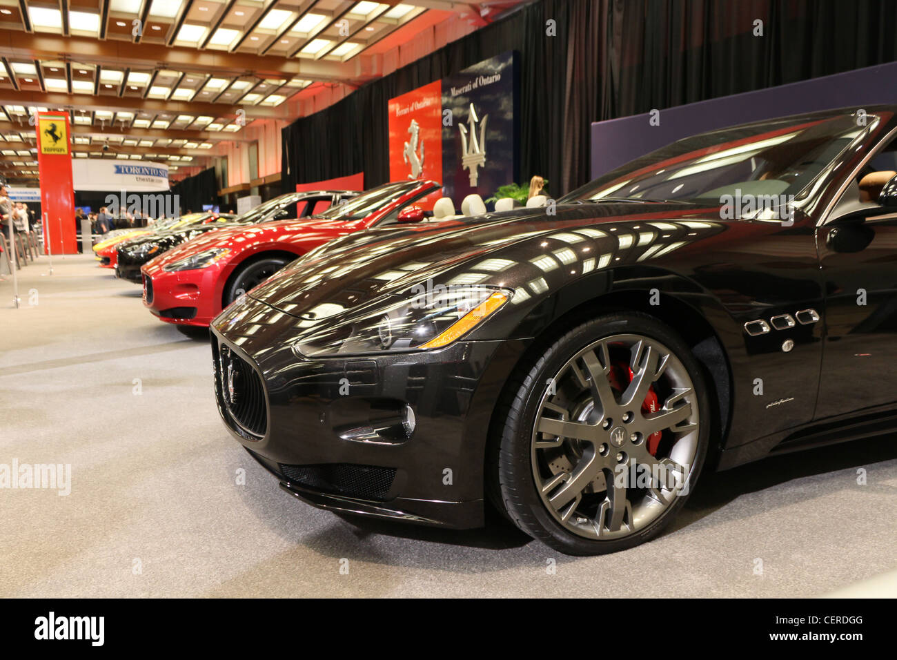 ferrari luxury sports cars in rows - Stock Image
