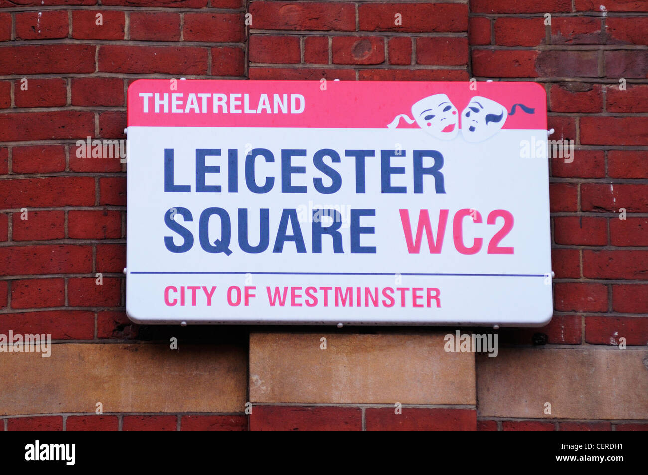 Theatreland Leicester Square WC2 Street Sign. - Stock Image