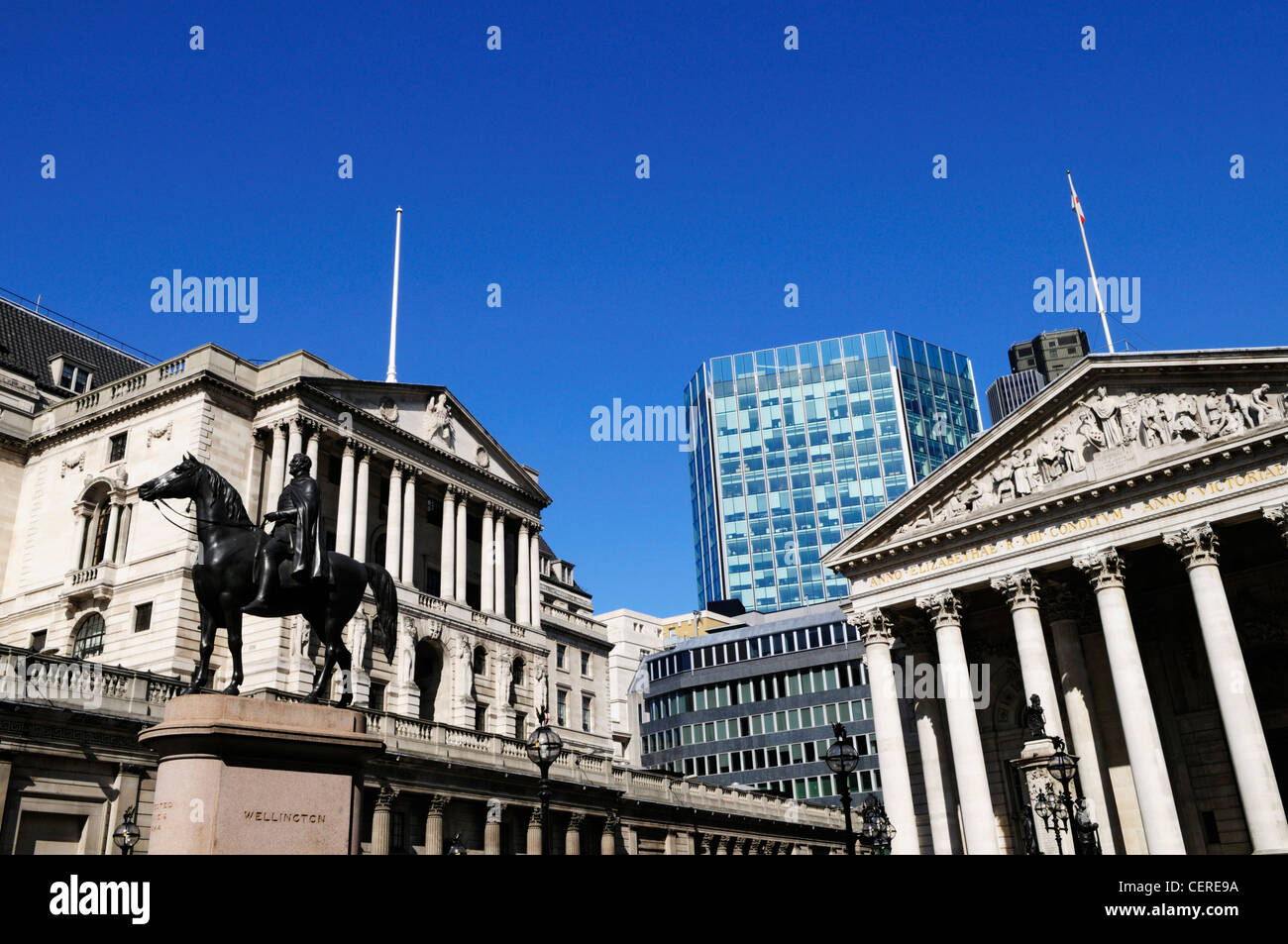 Statue of Wellington, The Bank of England, and The Royal Exchange in Threadneedle Street in the City of London. - Stock Image