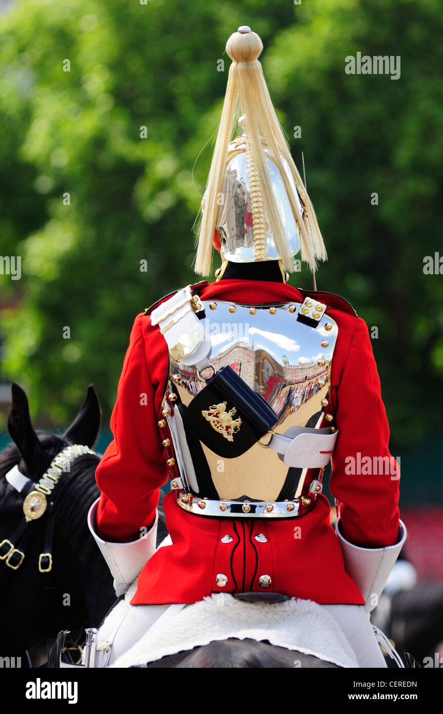 Rear view of a soldier from the Household Cavalry Mounted Regiment (HCMR) on duty at Horse Guards Parade. Stock Photo