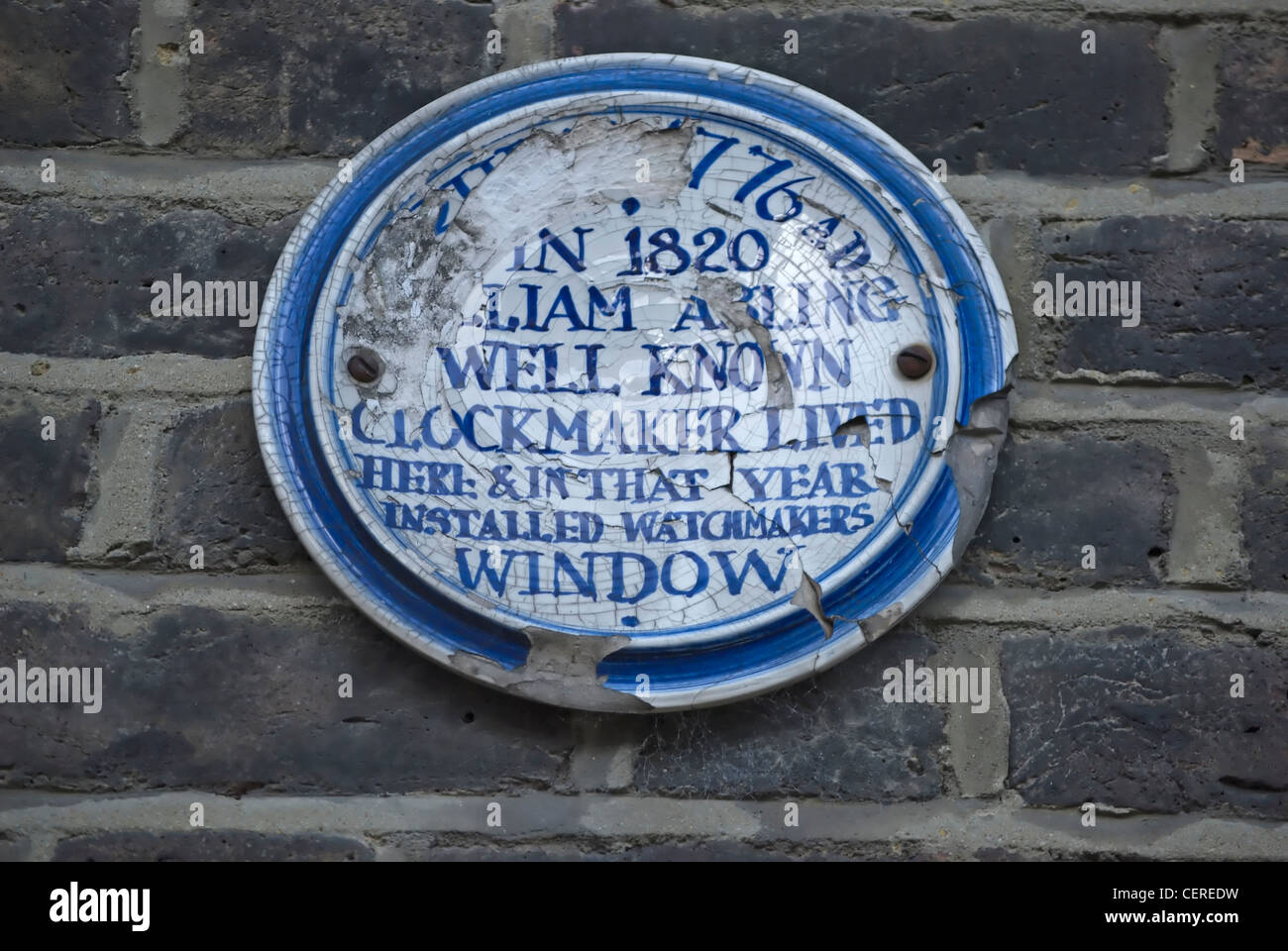 blue plaque marking a home of clockmaker william abling, islington, london, england - Stock Image