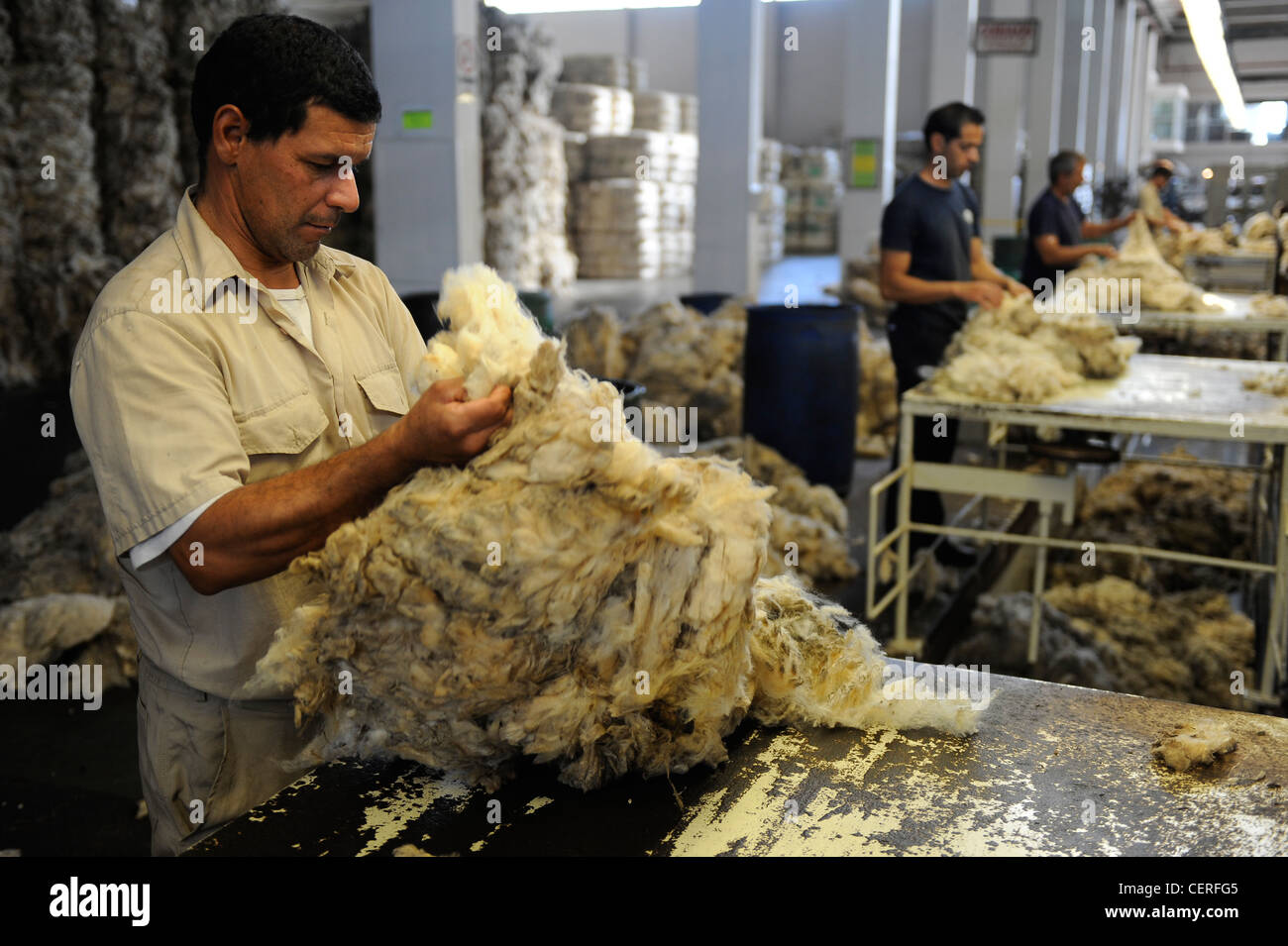 URUGUAY city Trinidad, company Lanas Trinidad S.A. processing and spinning of Merino sheep wool Stock Photo