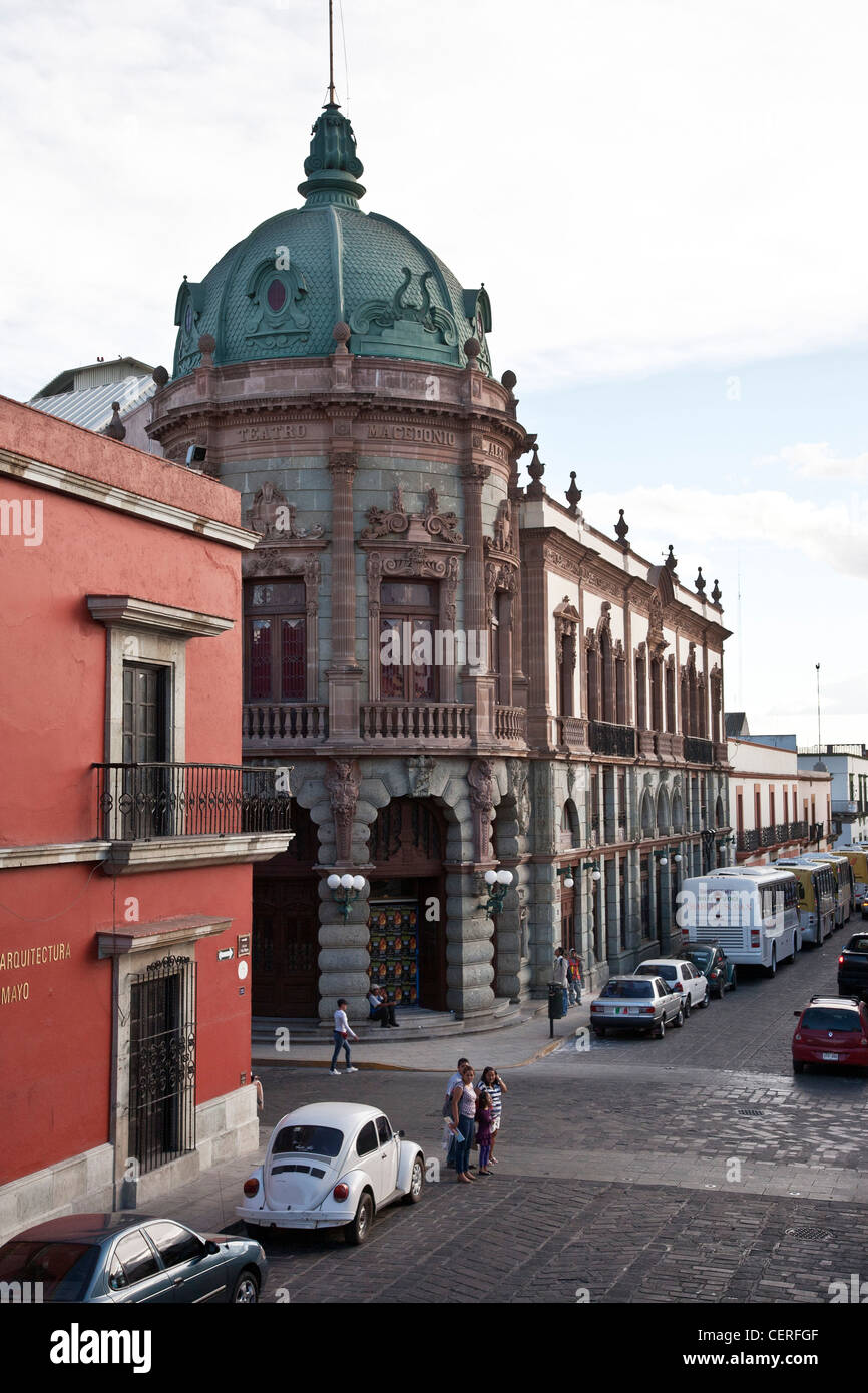 historic stone florid French Beaux Arts style Teatro Macedonio Alcala theater seen from Calle Cinqo de Mayo in Oaxaca Stock Photo