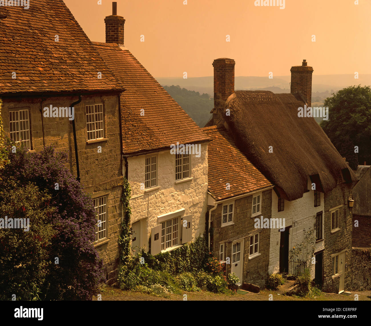 The early evening sky over Gold Hill. - Stock Image