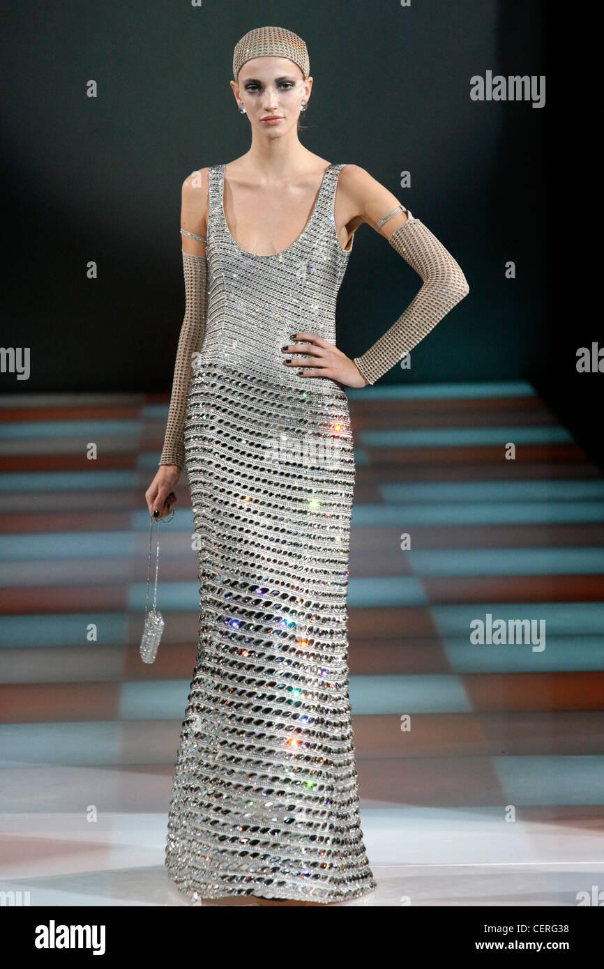 Giorgio Armani Milan Fashion Week Autumn Winter Model wearing silver ...