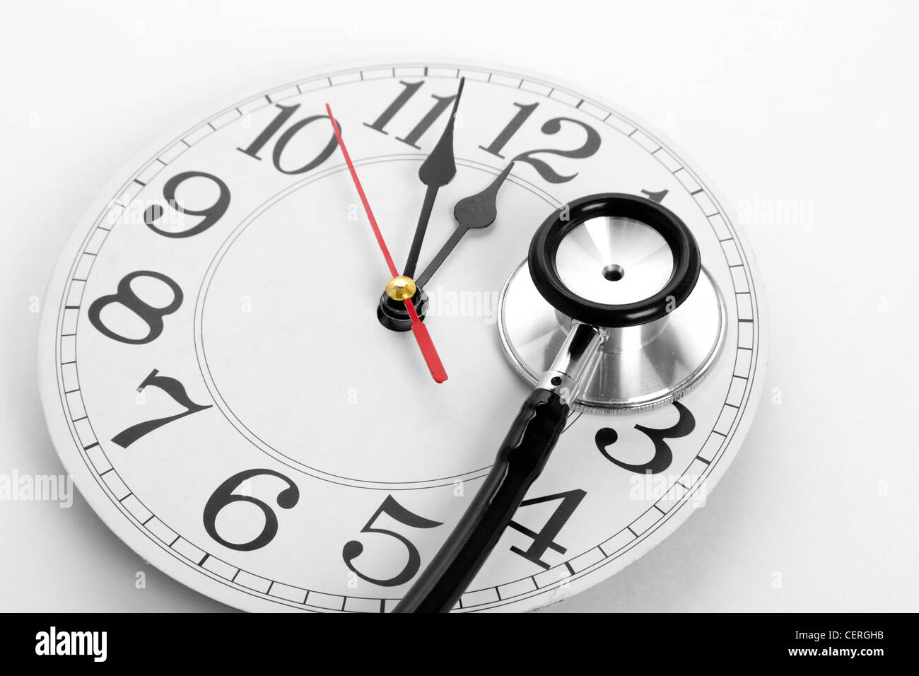 stethoscope and clock concept of time problems stock photo