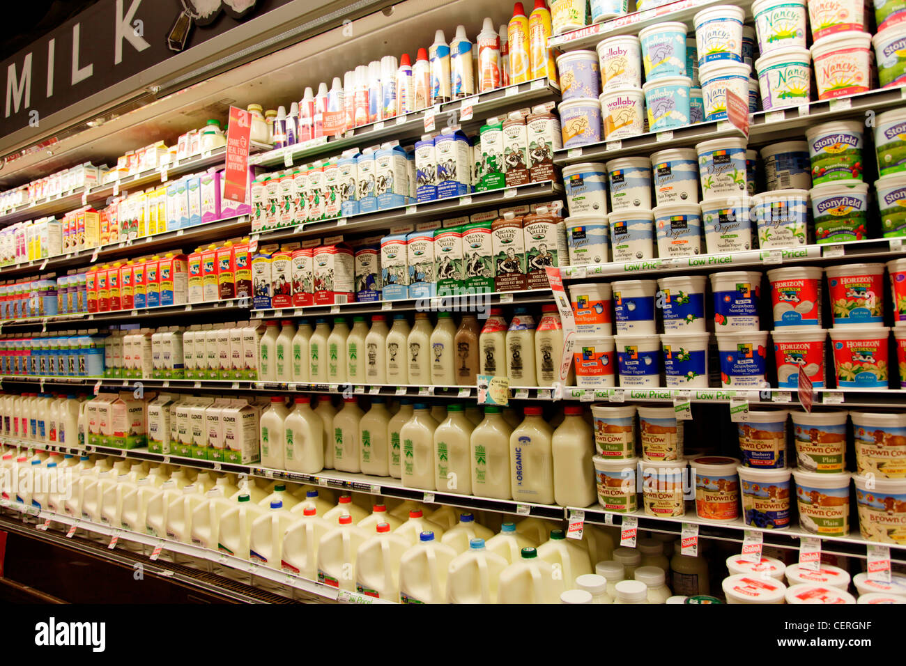 Dairy Products For Sale In Supermarket Stock Photo