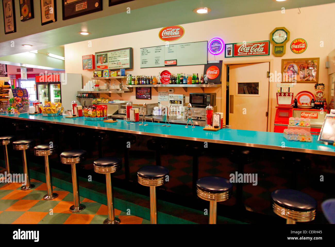 Interior Of Vintage American Diner On Route 66 Usa Stock
