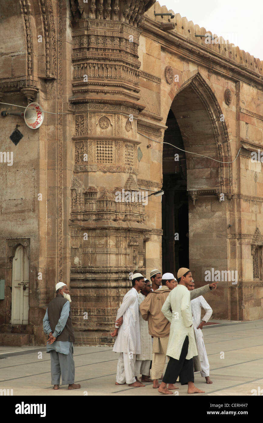 India, Gujarat, Ahmedabad, Jama Masjid, Mosque, people, - Stock Image