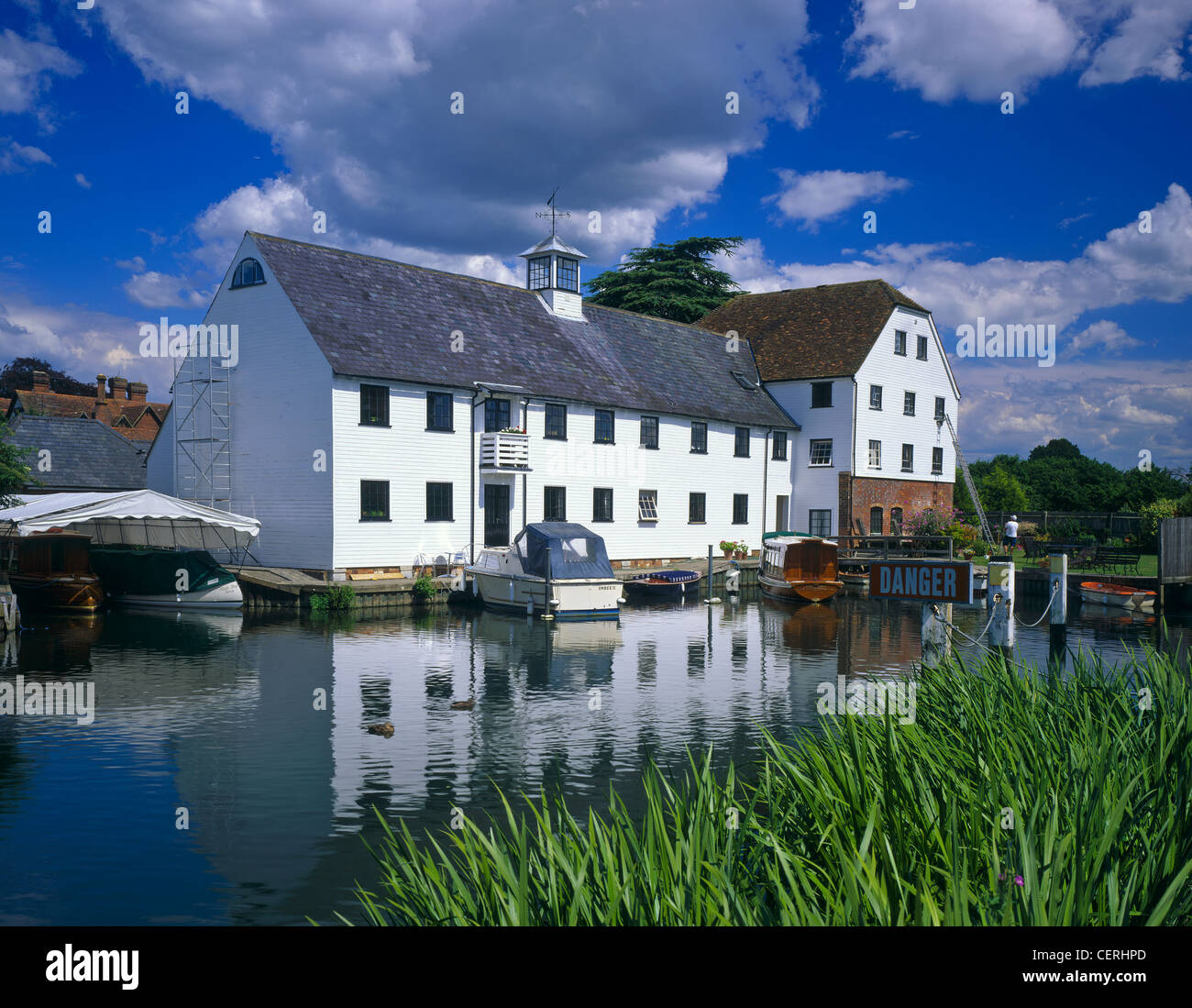 A view across the water to Hambleden Mill. - Stock Image