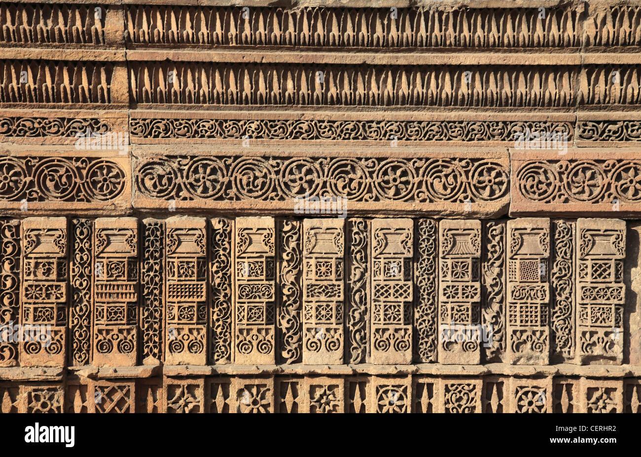 India, Gujarat, Ahmedabad, Rani Sipri's Mosque, Masjid-e-Nagira, stone carving, detail, - Stock Image