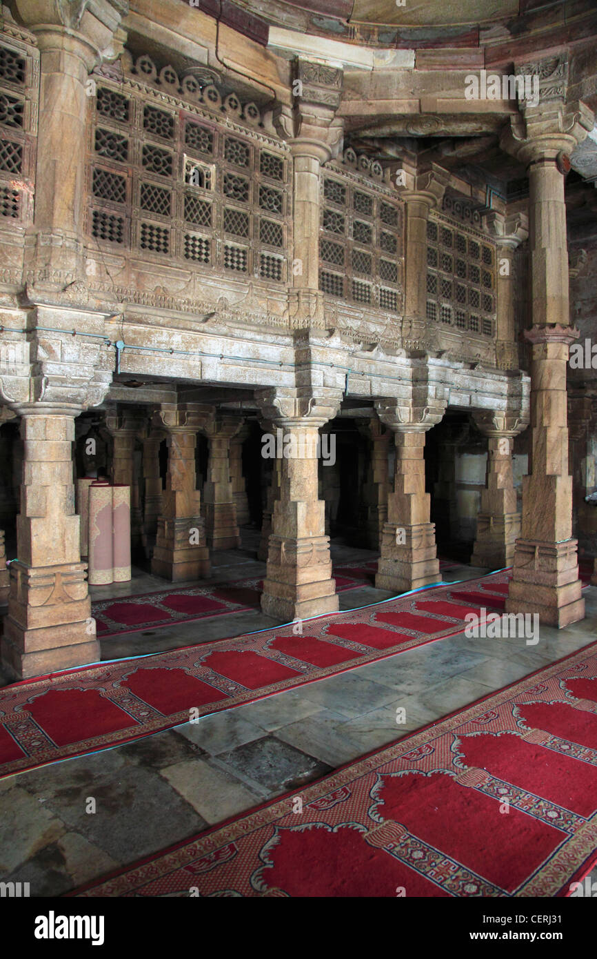 India, Gujarat, Ahmedabad, Jama Masjid, Mosque, interior, - Stock Image