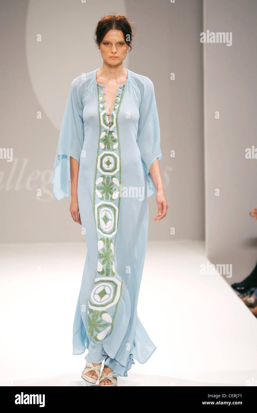 e8f836de7af Allegra Hicks London Ready to Wear Spring Summer Pale blue sheer long kaftan  dress panel leafy print front