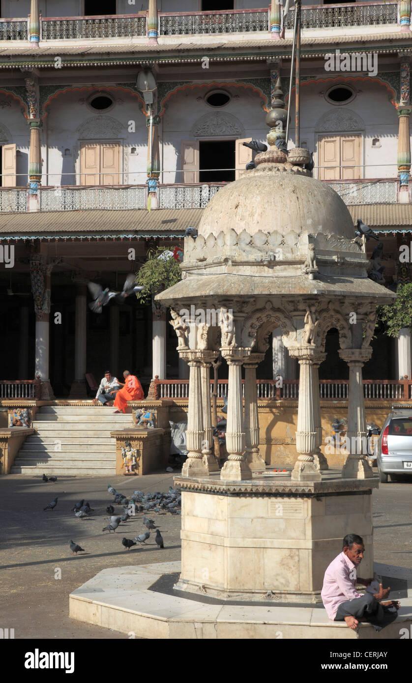 India, Gujarat, Ahmedabad, Swaminarayan Hindu Temple, Stock Photo