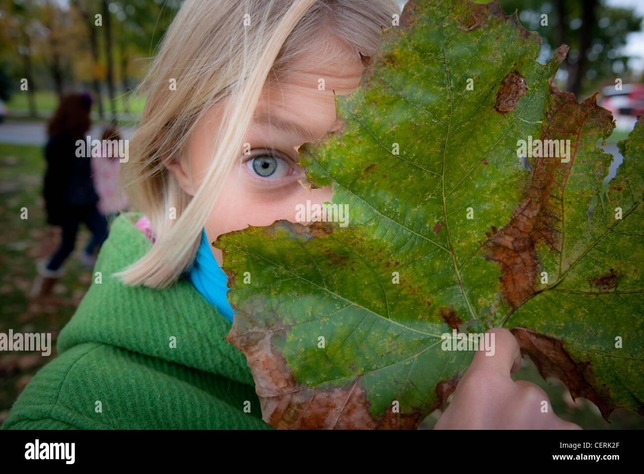 Ten year old girl peaking from behind a large leaf. - Stock Image