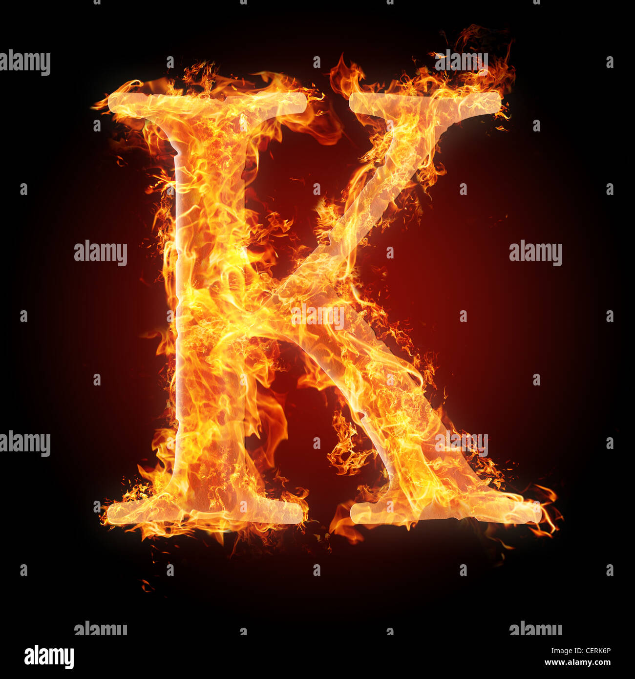 Letter K in fire. For more words, fonts and symbols see my portfolio. - Stock Image