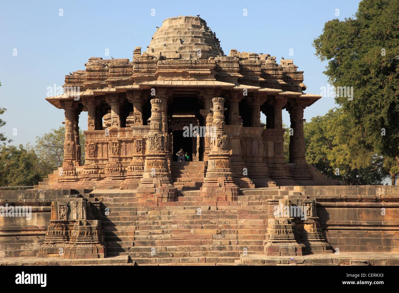 India, Gujarat, Modhera, Sun Temple, - Stock Image
