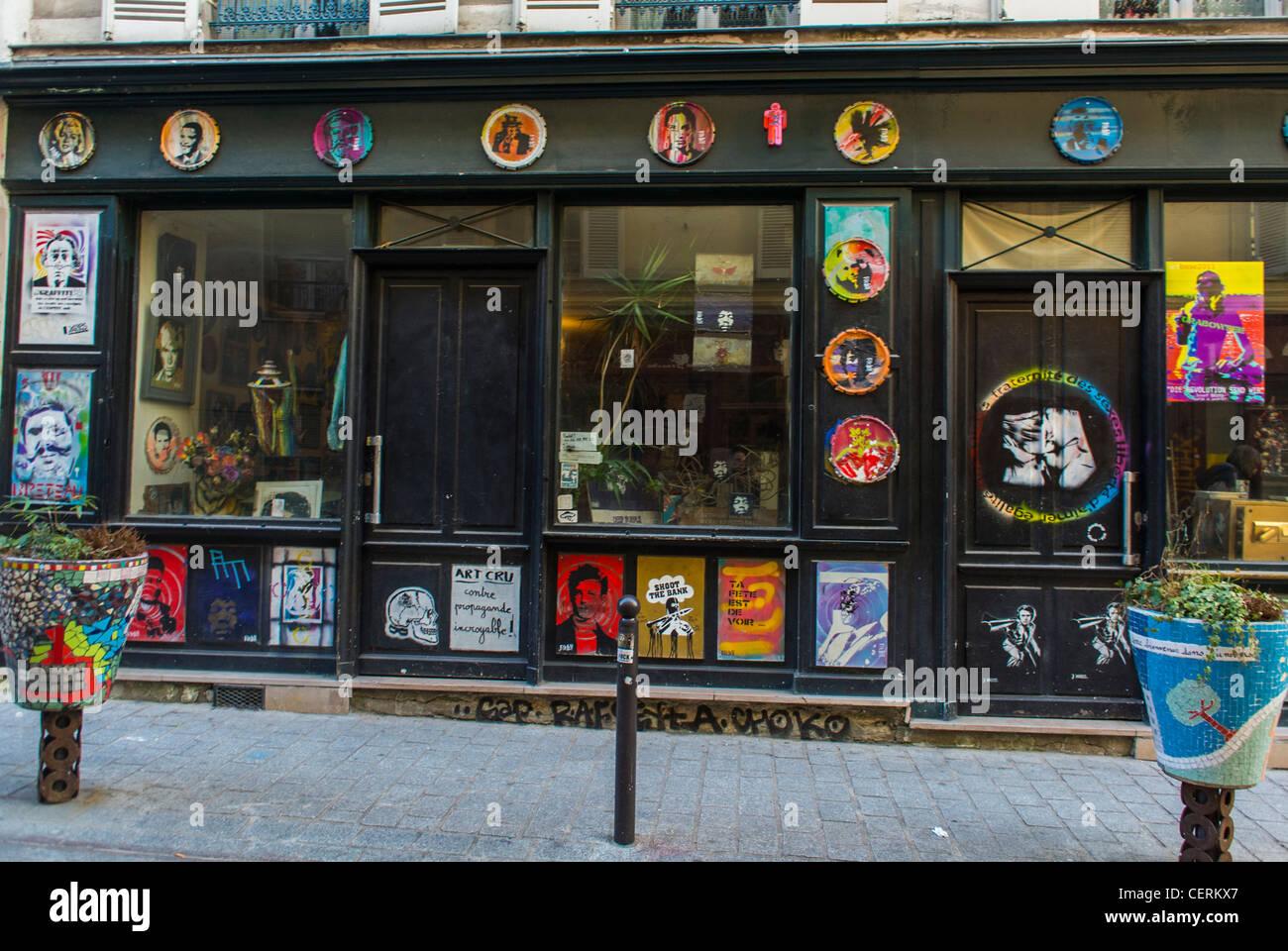 Paris, France, Old Storefront in Belleville District, Street Art - Stock Image