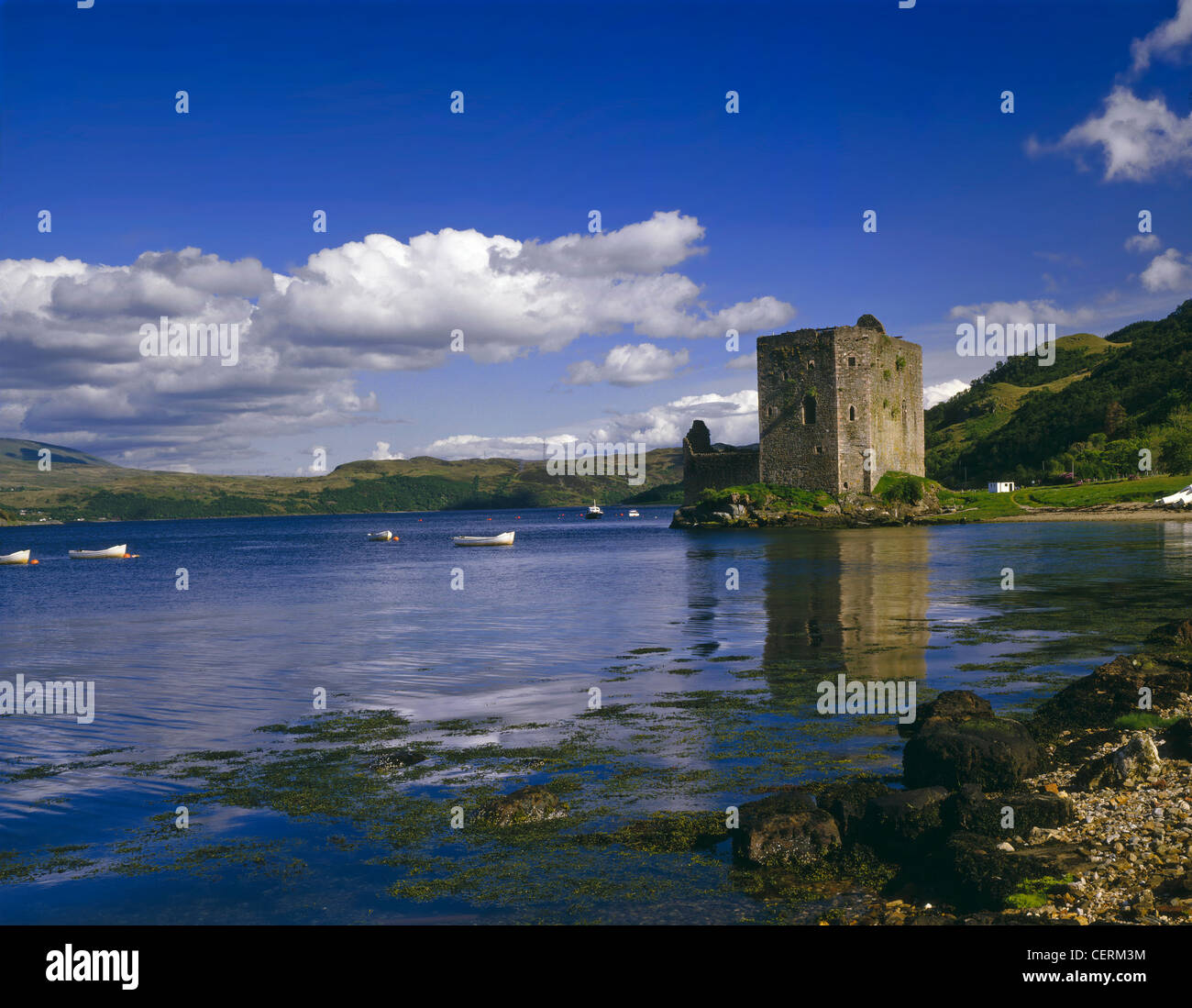 Castle Carrick on Loch Goil. Stock Photo