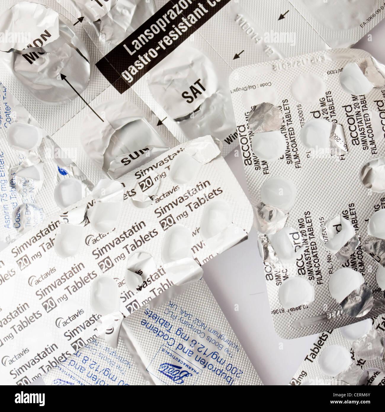 Used Drugs Medicines Simvastatin Lansoprazole - Stock Image