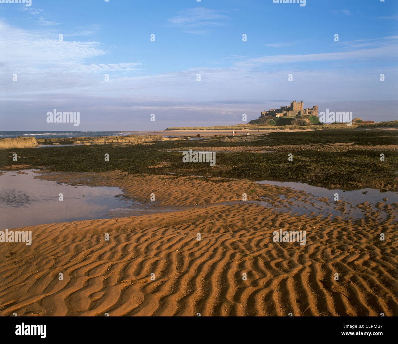 A view to Bamburgh Castle from the foreshore. - Stock Image
