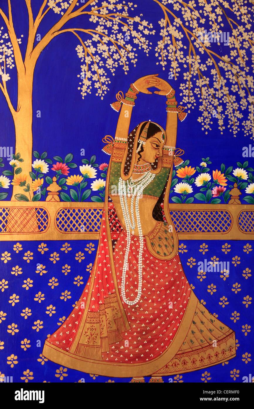 India Rajasthan Jaipur Umaid Bhawan Hotel Wall Painting Stock