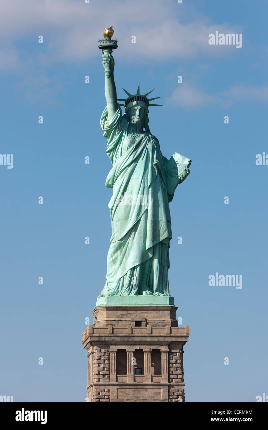 The Statue of Liberty on Liberty Island in New York Harbor. Stock Photo