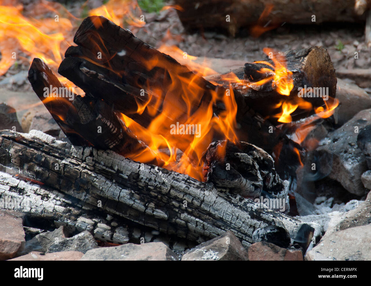 Campfire of logs burning in an open fire-pit - Stock Image