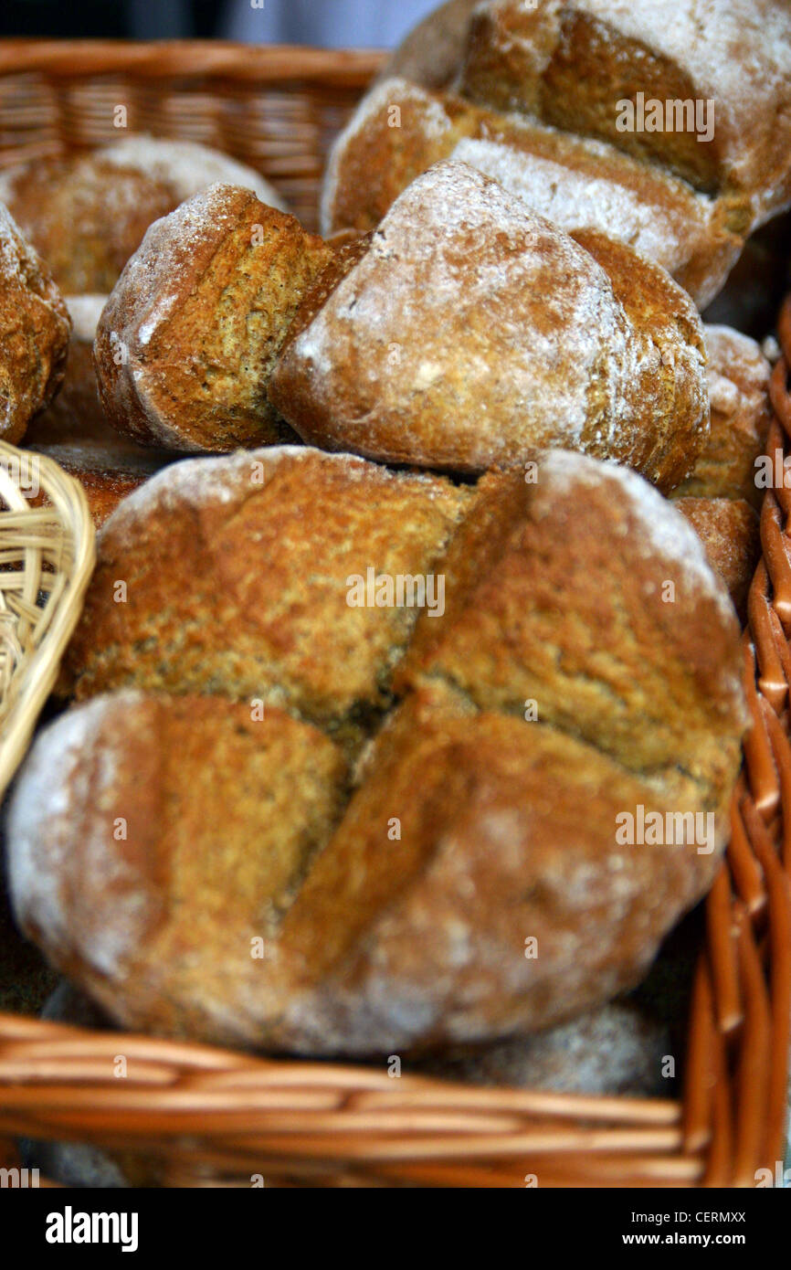 Fresh baked Bread for sale on a market stall Stock Photo