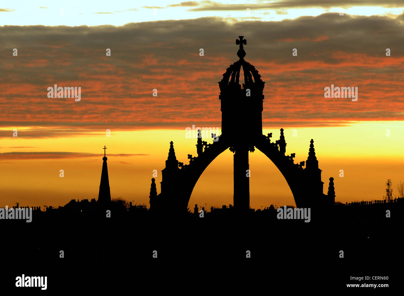 Silhouette of the Crown Tower, King's College, Aberdeen - Stock Image
