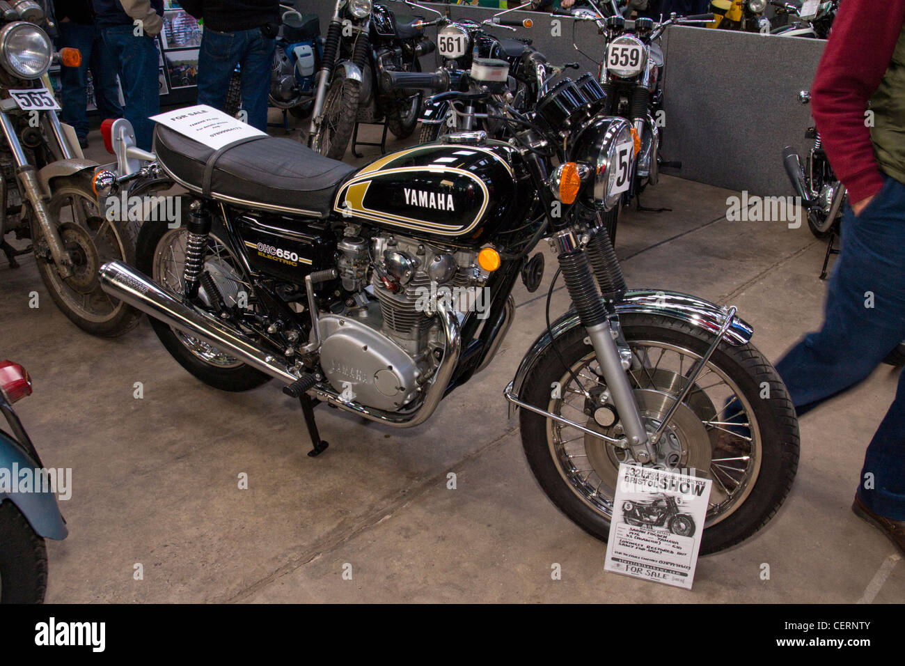 Yamaha XS650 at the Classic bike show. - Stock Image