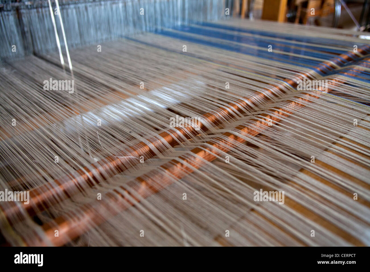 Close up photograph of an old traditional loom with cotton lined threads, Zagorohoria, Greece, Europe - Stock Image