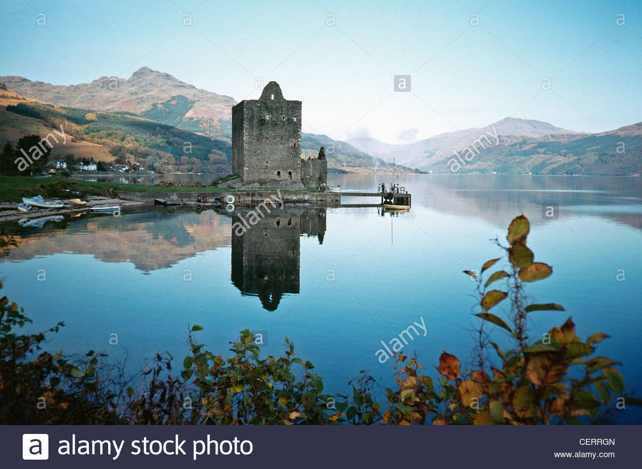 A view toward Carrick Castle on Loch Goil. - Stock Image