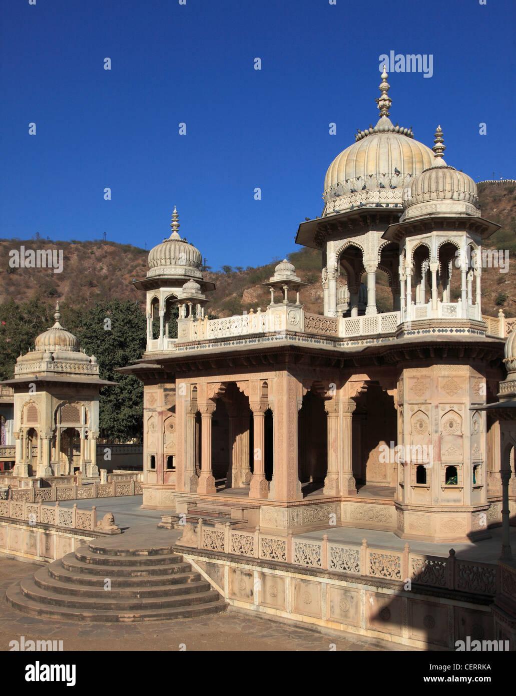 India, Rajasthan, Jaipur, Royal Gaitor, cenotaphs, - Stock Image