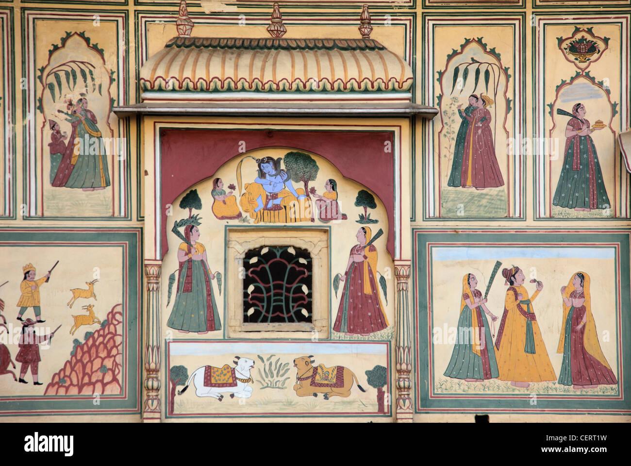 Wall Paintings Jaipur India Stock Photos Wall Paintings Jaipur