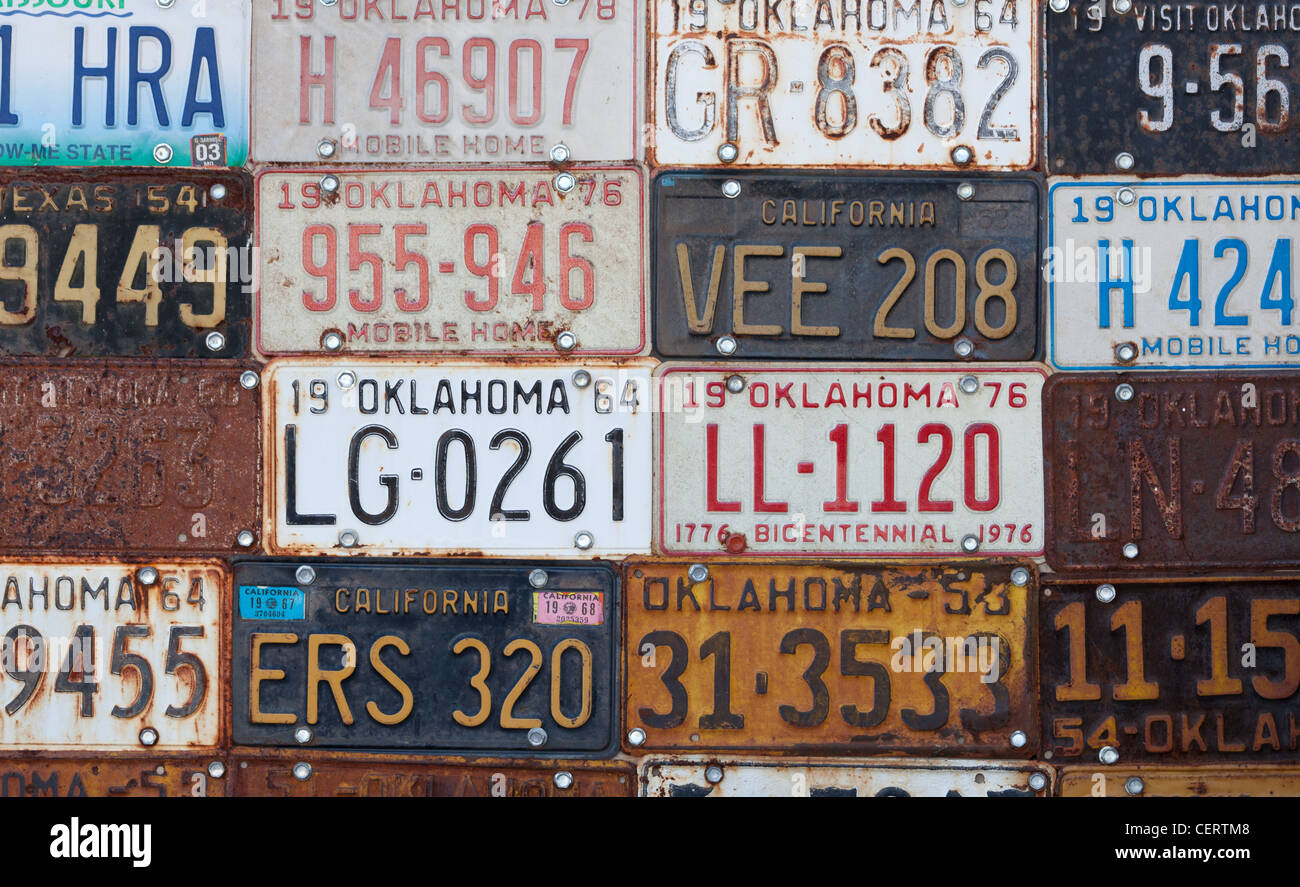 Group of vintage old American license plates Stock Photo: 43550200 ...