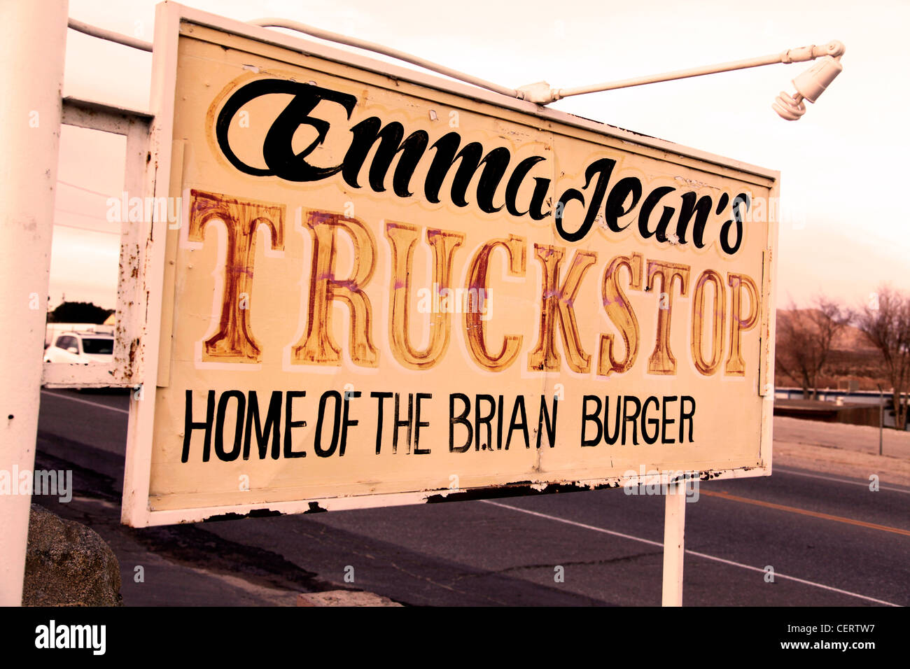 TRUCK STOP SIGN,ROUTE 66,CALIFORNIA - Stock Image