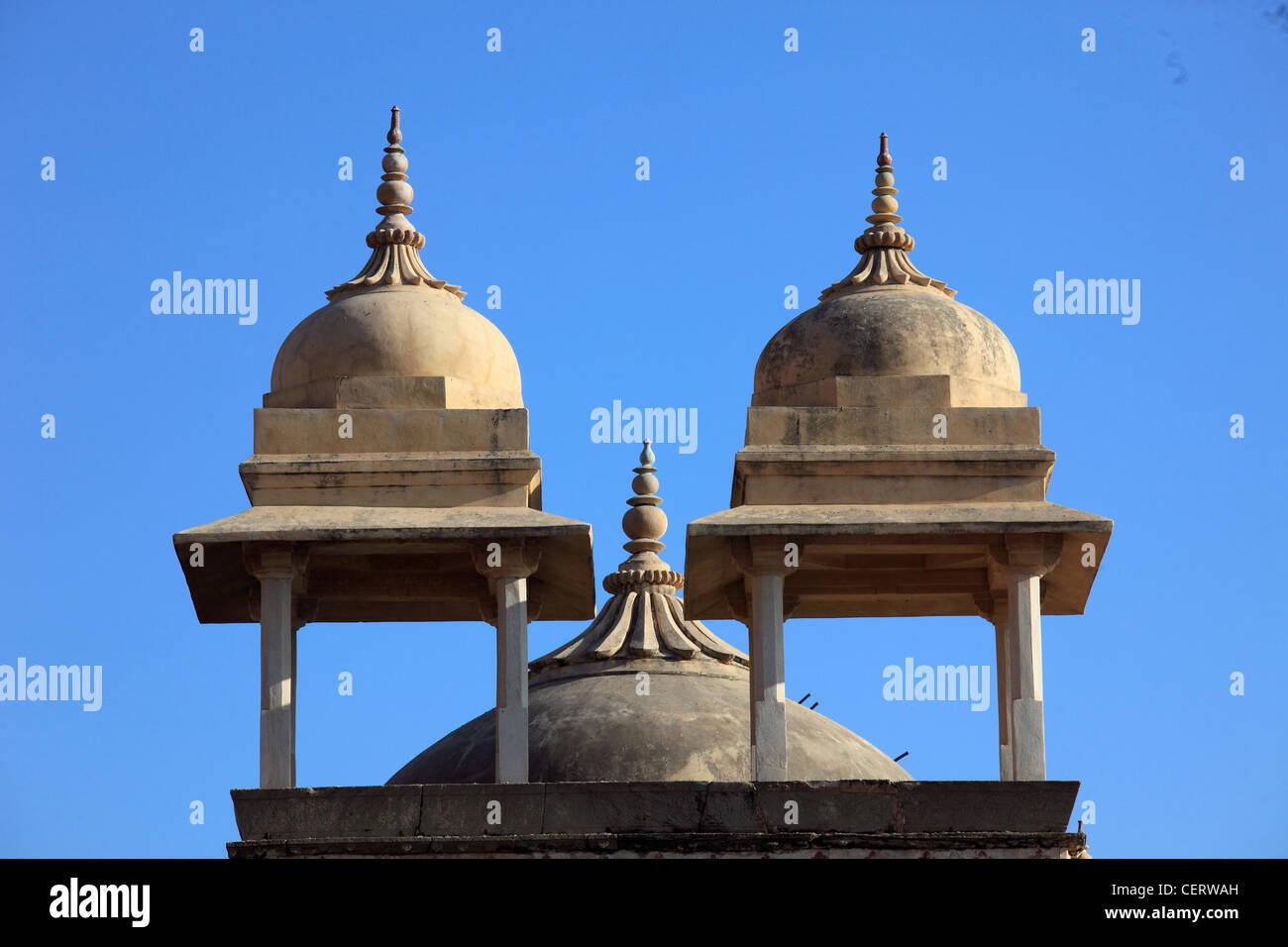 India, Rajasthan, Jaipur, Amber, Fort, towers, cupolas, - Stock Image