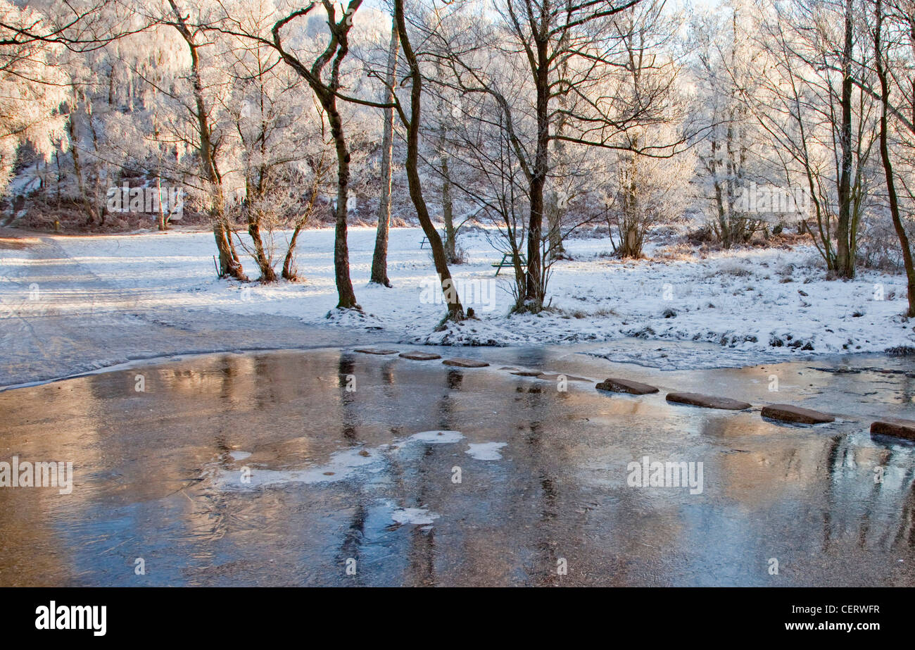 Beautiful winter scene, Stepping Stones Sherbrook Valley early winter Cannock Chase Country Park AONB - Stock Image